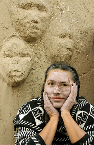 Roxanne Swentzell Photo, With Clay Masks